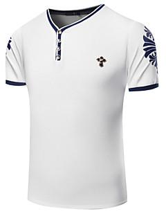 男性用 プリント カジュアル / スポーツ Tシャツ,半袖 コットン,ブルー / レッド / ホワイト
