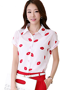 Women's Casual/Daily Simple Summer Shirt,Print Shirt Collar Short Sleeve White Polyester Thin