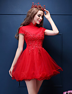 Cocktail Party Dress-Ruby Ball Gown High Neck Short/Mini Lace / Tulle
