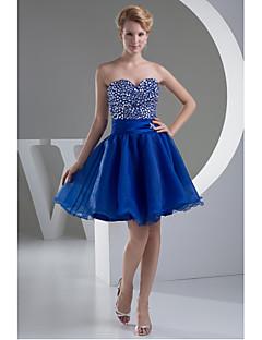 Fiesta de Cóctel Vestido-Azul Real Corte en A Corta/Mini-Corazón Organza