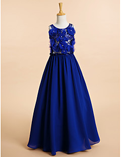 Lanting Bride A-line Floor-length Flower Girl Dress - Chiffon Sleeveless Scoop with Beading / Flower(s)