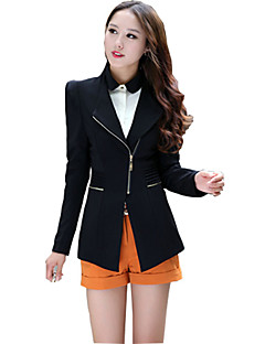 Women's Casual/Daily Vintage All Seasons Blazer,Solid Asymmetrical Long Sleeve Red / Black Polyester