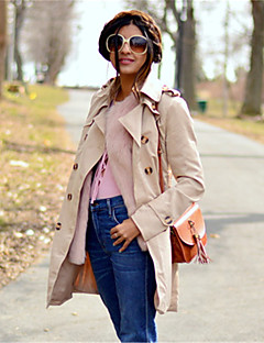 Women's Trench Coat,Solid Long Sleeve Spring / Fall Beige / Black Cotton / Polyester Medium