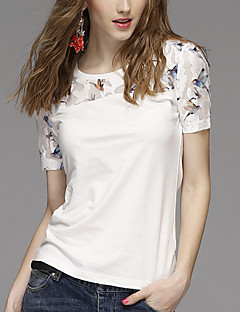 Women's Print White T-shirt,Round Neck Short Sleeve