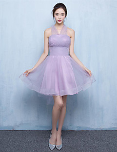 Short / Mini Tulle Bridesmaid Dress A-line Sweetheart with Side Draping