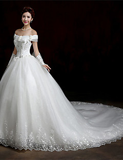 A-line Wedding Dress Cathedral Train Bateau Lace / Satin / Tulle with Ruffle / Beading / Flower