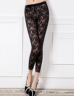 Women Stitching Lace Legging,Lace / Nylon Thin