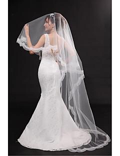 Wedding Veil One-tier Chapel Veils Lace Applique Edge