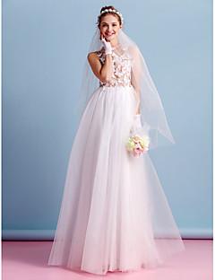 lanting는 라인 웨딩 드레스 층 길이 보석 얇은 명주 그물을 신부