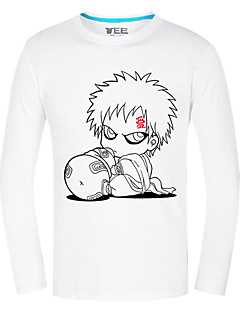 Inspirado por Naruto Gaara Anime Fantasias de Cosplay Tops Cosplay / Bottoms Estampado Branco Manga Comprida Top