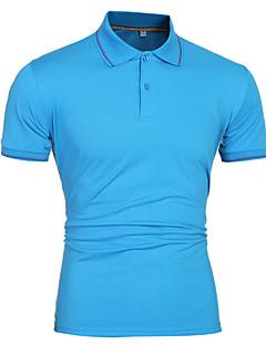 Men's Fashion Stripes Decorative Turn Down Collar Slim Fit Short-Sleeve Polos, Cotton/Polyester