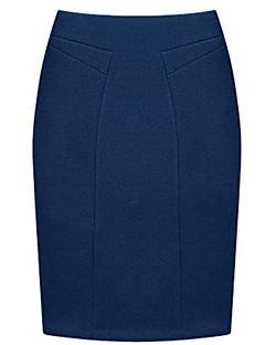 Mini Skjørt Plusstørrelser / Arbeid / Fritid Bomull / Polyester Mikroelastisk Kvinner