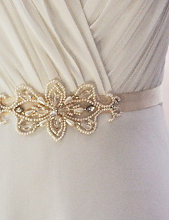 Satin Wedding / Party/ Evening / Dailywear Sash-Beading / Appliques / Pearls Women's 98 ½in(250cm) Beading / Appliques / Pearls