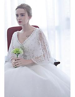 볼 드레스 웨딩 드레스 바닥 길이 V-넥 새틴 / 튤 와 비즈 / 아플리케 / 스팽글