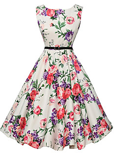 Women's Casual/Daily Vintage A Line Skater Dress,Floral Print Round Neck Knee-length Sleeveless Polyester Summer Mid Rise