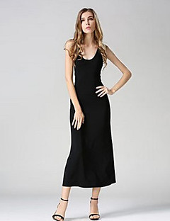 Women's Simple / Boho Solid Little Black Dress,Round Neck Midi Polyester