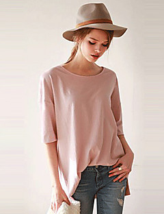 Women's Solid Pink / White T-shirt,Round Neck Short Sleeve
