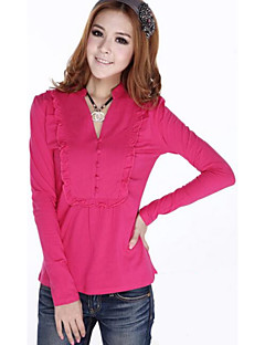Women's Solid Fashion All Match Plus Size Large Size Slim T-shirt,V Neck Long Sleeve