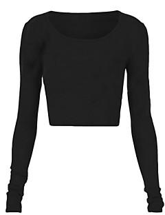 婦人向け カジュアル/普段着 夏 Tシャツ,セクシー ラウンドネック ソリッド ホワイト / ブラック / グレイ コットン 長袖 半透明