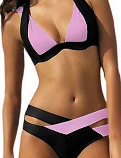 The New European And American Women Hit The Color Black And White Bikini Swimsuit Sexy Gather Split