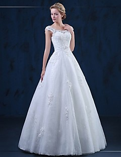 A-line Wedding Dress Lacy Look Floor-length Scoop Tulle with Appliques