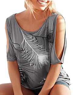 Women's Floral Blue / Pink / Red / Green T-shirt,Round Neck Short Sleeve Print Randomly
