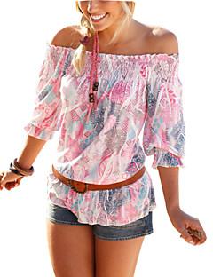 Blommig Trekvartsärm T-shirt Kvinnors Båthals Polyester