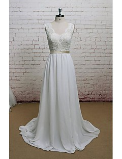 Sheath / Column Wedding Dress Court Train V-neck Chiffon / Lace with Appliques