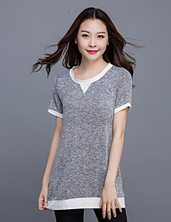 婦人向け ラウンドネック パッチワーク Tシャツ,コットン / リネン 半袖