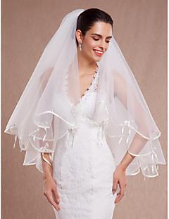 Wedding Veil Two-tier Elbow Veils Ribbon Edge/Scalloped Edge