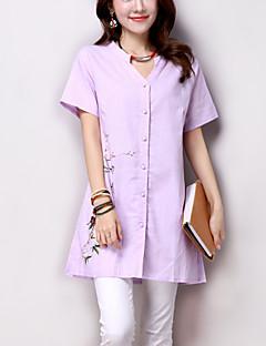 Women's Print Blue / Beige / Purple Shirt,Casual/Daily /Simple Loose Literature and art V Neck Short Sleeve Cotton/Linen