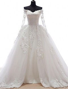 A-line Wedding Dress See-Through Court Train Off-the-shoulder Lace Tulle with Appliques