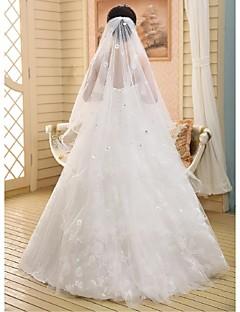 Wedding Veil One-tier Chapel Veils Ribbon Edge Lace White