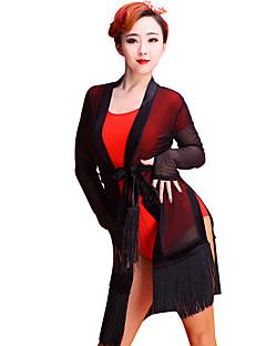 Latinské tance Vrchní část oděvu Dámské Výkon Tyl Střapce Jeden díl Dlouhé rukávy horní a dolní část) 86cm-88cm