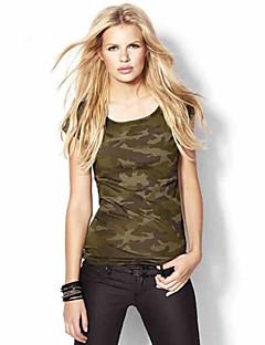 Mulheres Camiseta Casual Plus Sizes / Moda de Rua Verão,Galáxia Verde Algodão / Linho Decote Redondo Manga Curta Média