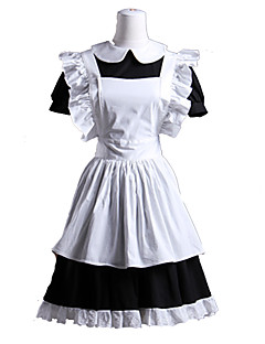 Short Sleeve Short Black and White Cotton Maid Cosplay Lolita Kleid