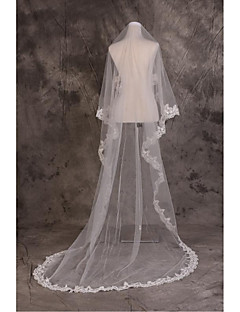 Wedding Veil One-tier Cathedral Veils Cut Edge Tulle / Lace Beige