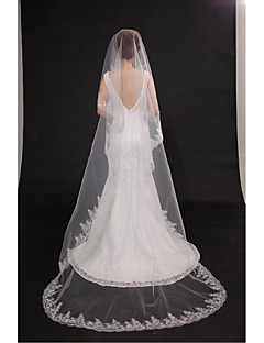 Wedding Veil One-tier Chapel Veils Cut Edge Lace Applique Edge Tulle Beige