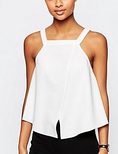 Blusa Da donna Per uscire Sensuale / Moda cittàTinta unita Con bretelline Rayon Bianco Senza maniche Sottile