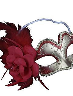 Blumenfeder silber und rot halbe Gesicht Maskerade Maske