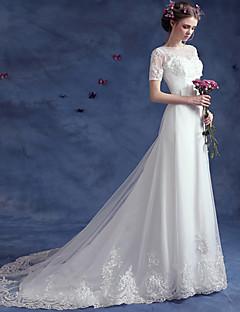 A-라인 웨딩 드레스 코트 트레인 보트넥 레이스 / 튤 와 아플리케 / 비즈 / 버튼 / 허리끈 / 리본