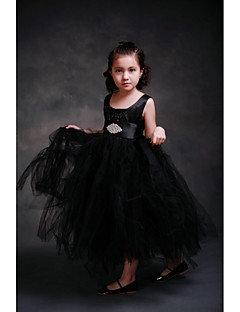 Ball Gown Ankle-length Flower Girl Dress-Satin / Tulle Sleeveless