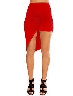 Damen Röcke - Leger Asymmetrisch Baumwolle Mikro-elastisch