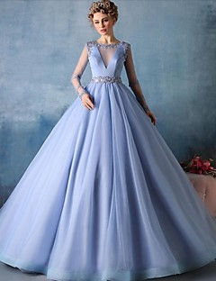 Formal Evening Dress Ball Gown Jewel Court Train Tulle with Beading