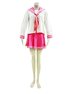 Inspired by LuckyStar Kagami Hiiragi Anime Cosplay Costumes Cosplay Suits / School Uniforms Patchwork White / Pink Long SleeveTop / Skirt