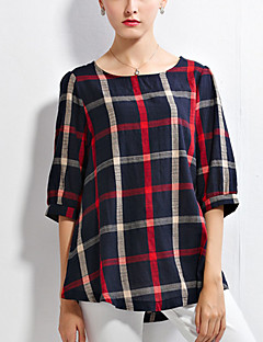 Women's Geometric Blue Blouse,Round Neck ½ Length Sleeve