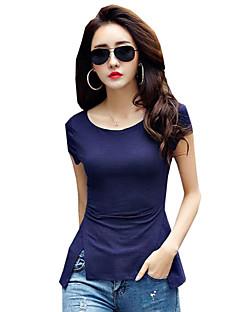 אחיד צווארון עגול פשוטה / סגנון רחוב יום יומי\קז'ואל טישרט נשים,קיץ שרוולים קצרים כחול / שחור בינוני (מדיום) פוליאסטר