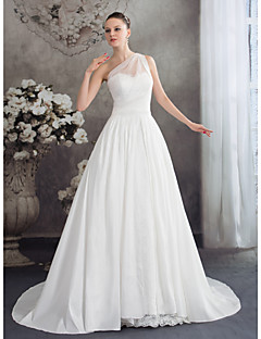 A-라인 웨딩 드레스 코트 트레인 원 숄더 쉬폰 와 레이스 / 장식주름 / 러플