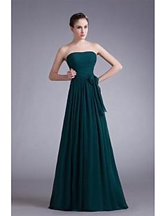 포멀 이브닝 드레스-다크 그린 A-라인 바닥 길이 끈없는 스타일 쉬폰