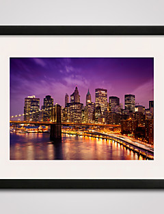 New York Brooklyn Bridge At Night Printed Canvas  40x50cm with Black Frame Ready To Hang